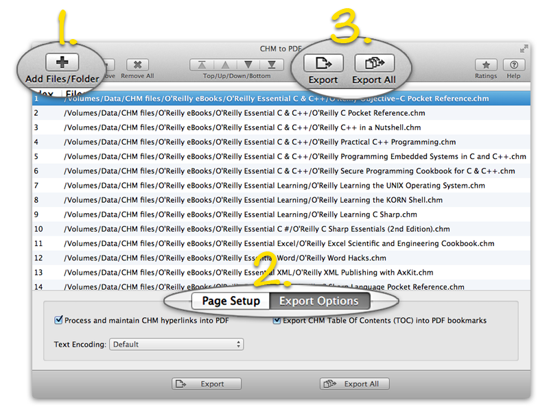 Three easy steps for batch convert CHM files into PDF using CHM to PDF on mac
