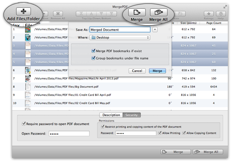 Simple and efficient way to merge PDF files