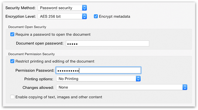 PDFGenius - PDF document password security options