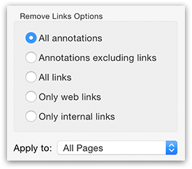PDFGenius - Remove Links from PDF options