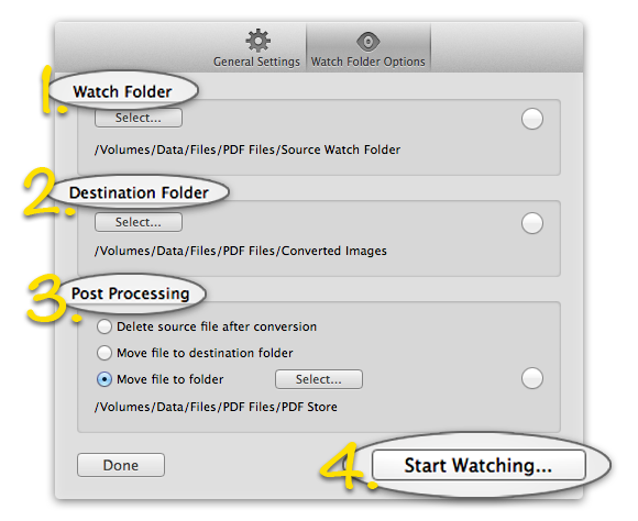 PDFSplitter Pro - A Pro version automation feature. Watch folder settings.