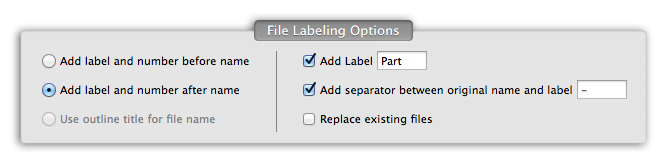 PDFSplitter Pro - PDF Split labeling options