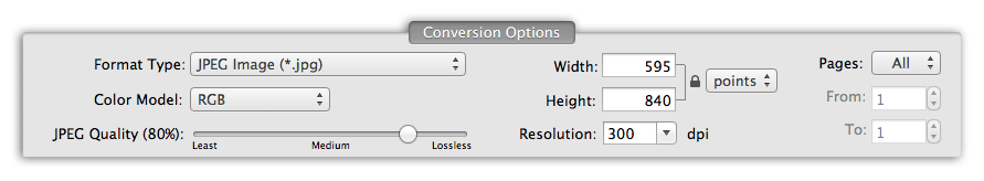 PDF to JPG Pro - Conversion Options