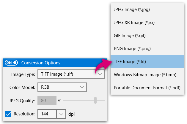 PhotoConvert - Image conversion options