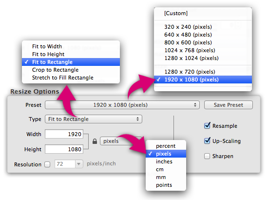 PhotoResize Pro - Image resizing options