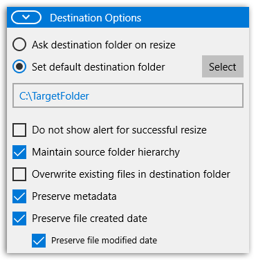 PhotoConvert - Destination options