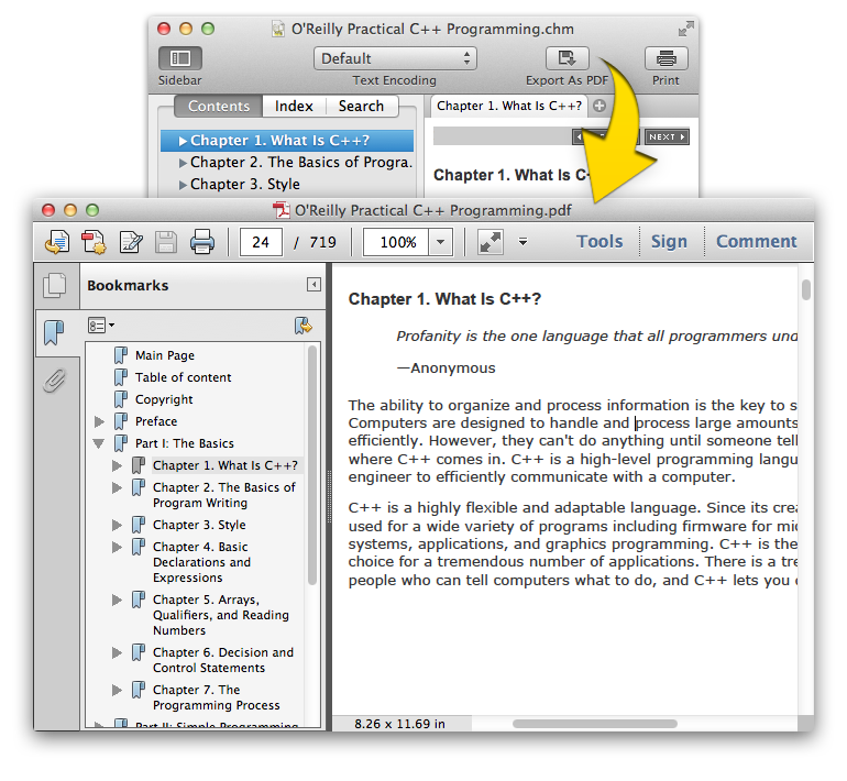 Convert CHM file into PDF using Read CHM+ on mac