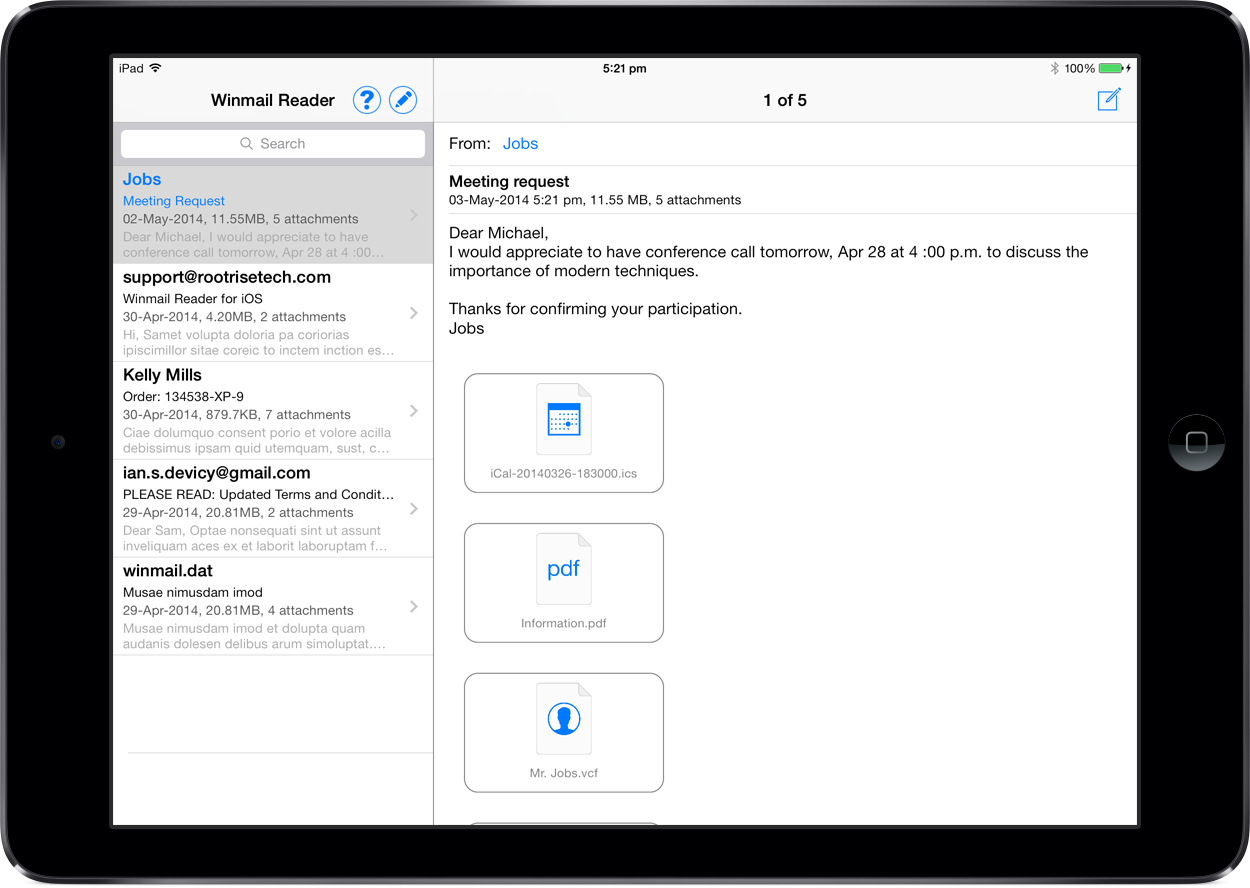 Winmail Reader for iPad.