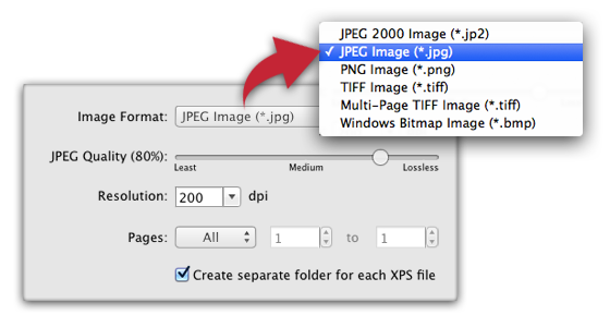 XPS-to-PDF - XPS to image conversion and raster image extraction from XPS documents  settings